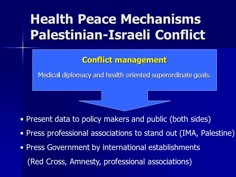 Health Peace Mechanisms Palestinian-Israeli Conflict Conflict management Medical diplomacy and health oriented superordinate goals.
