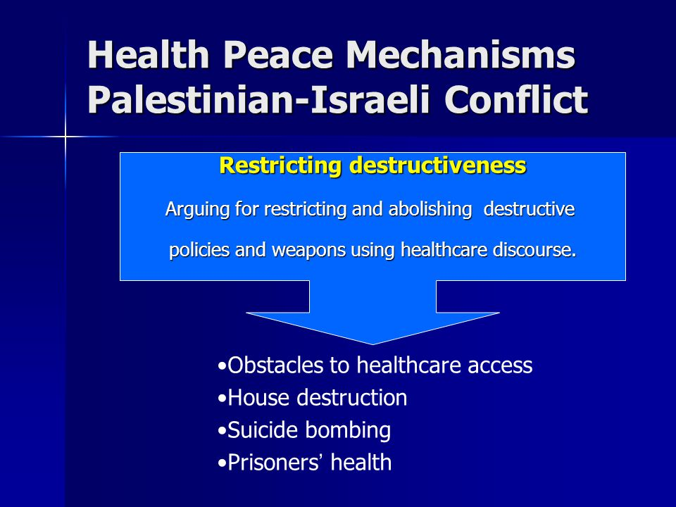 Health Peace Mechanisms Palestinian-Israeli Conflict Restricting destructiveness Arguing for restricting and abolishing destructive policies and weapons using healthcare discourse.