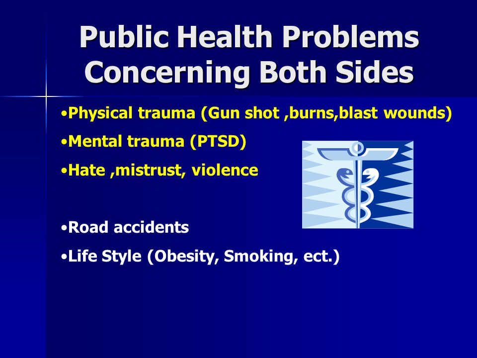 Public Health Problems Concerning Both Sides Physical trauma (Gun shot,burns,blast wounds) Mental trauma (PTSD) Hate,mistrust, violence Road accidents Life Style (Obesity, Smoking, ect.)