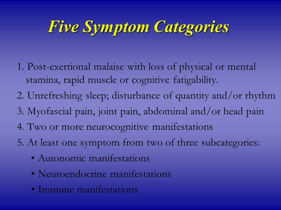 Five Symptom Categories 1.