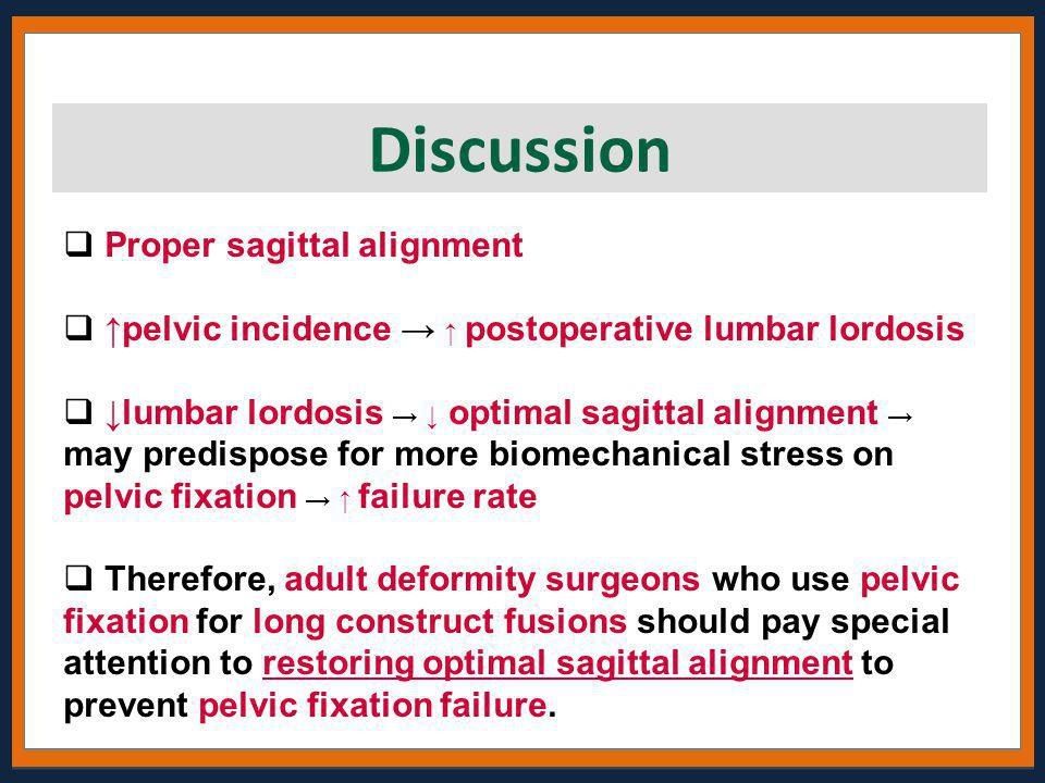  Proper sagittal alignment  ↑pelvic incidence → ↑ postoperative lumbar lordosis  ↓lumbar lordosis → ↓ optimal sagittal alignment → may predispose f