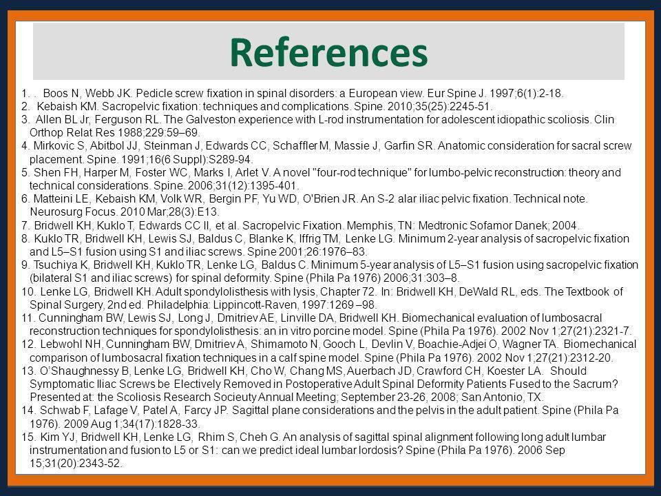 1.. Boos N, Webb JK. Pedicle screw fixation in spinal disorders: a European view. Eur Spine J. 1997;6(1):2-18. 2. Kebaish KM. Sacropelvic fixation: te