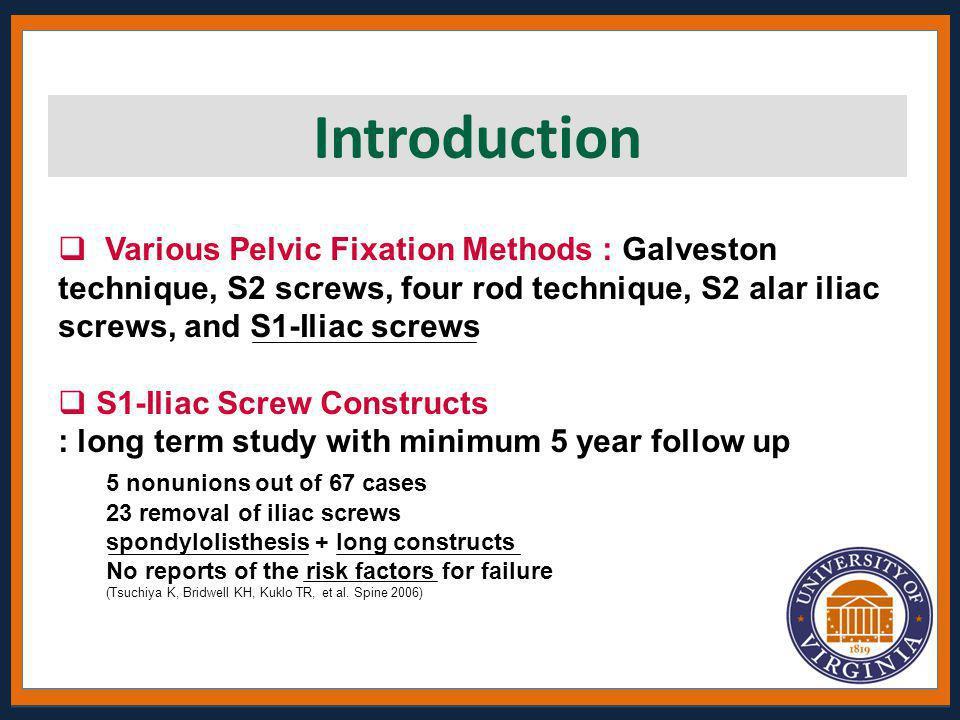  Various Pelvic Fixation Methods : Galveston technique, S2 screws, four rod technique, S2 alar iliac screws, and S1-Iliac screws  S1-Iliac Screw Con