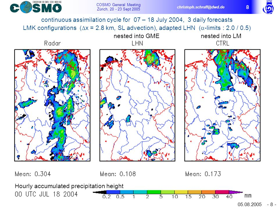 COSMO General Meeting Zürich, 20 - 23 Sept 2005 christoph.schraff@dwd.de 05.08.2005 - 8 - 8 Hourly accumulated precipitation height continuous assimilation cycle for 07 – 18 July 2004, 3 daily forecasts LMK configurations (  x = 2.8 km, SL advection), adapted LHN (  -limits : 2.0 / 0.5) nested into GME nested into LM