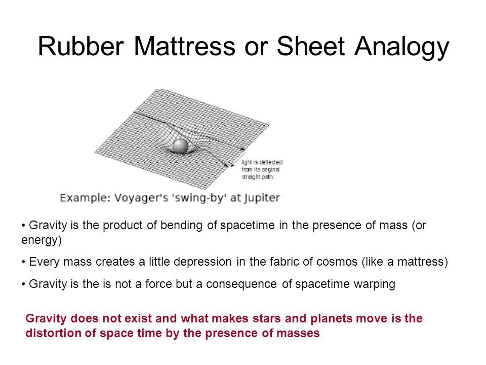 Rubber Mattress or Sheet Analogy Gravity is the product of bending of spacetime in the presence of mass (or energy) Every mass creates a little depression in the fabric of cosmos (like a mattress) Gravity is the is not a force but a consequence of spacetime warping Gravity does not exist and what makes stars and planets move is the distortion of space time by the presence of masses