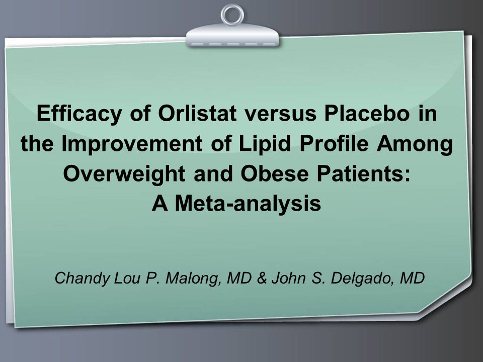 Efficacy of Orlistat versus Placebo in the Improvement of Lipid Profile Among Overweight and Obese Patients: A Meta-analysis Chandy Lou P.