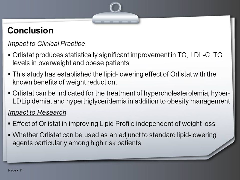 Page  11 Conclusion Impact to Clinical Practice  Orlistat produces statistically significant improvement in TC, LDL-C, TG levels in overweight and o