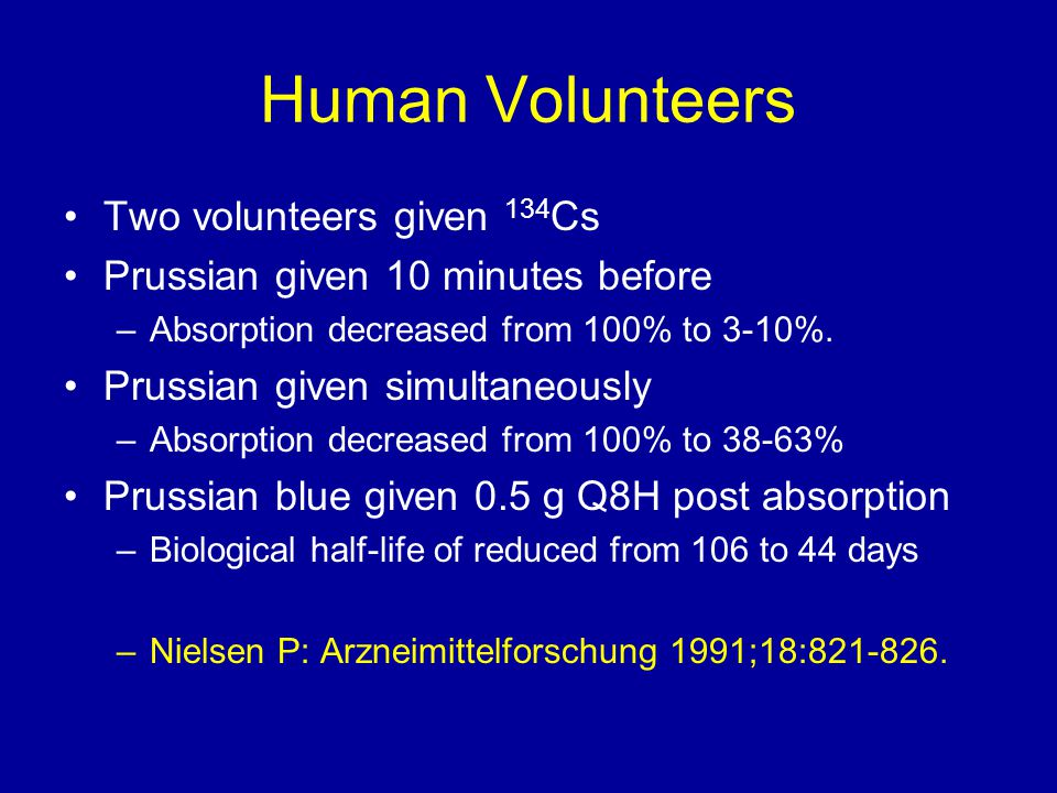 Human Volunteers Two volunteers given 134 Cs Prussian given 10 minutes before –Absorption decreased from 100% to 3-10%.