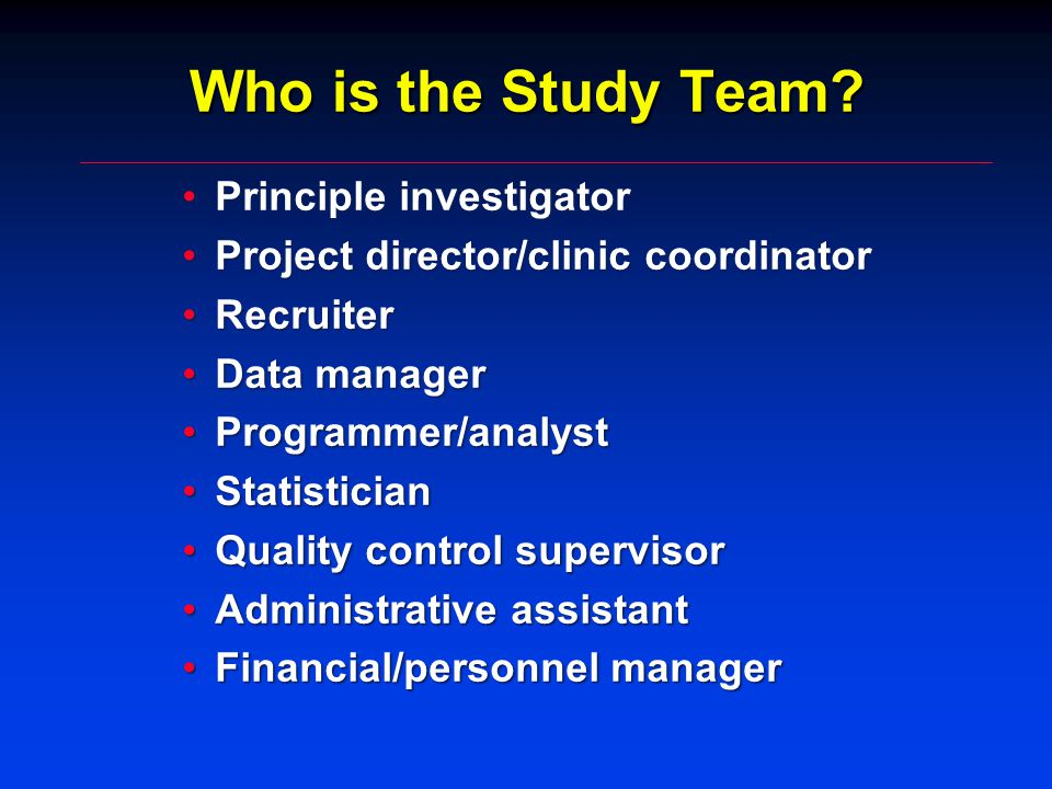 Who is the Study Team.
