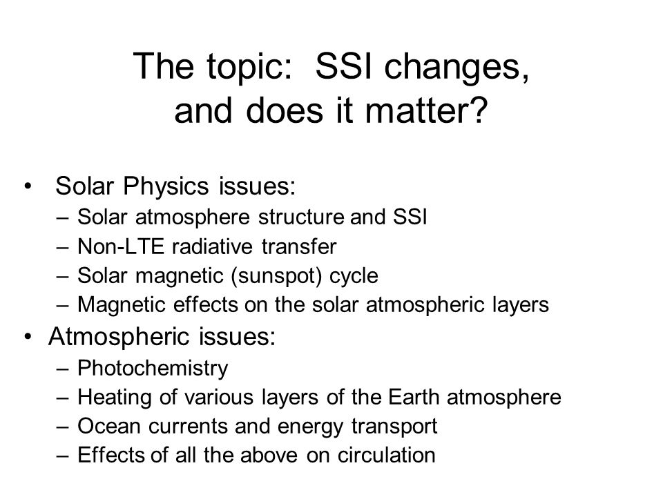 The topic: SSI changes, and does it matter.