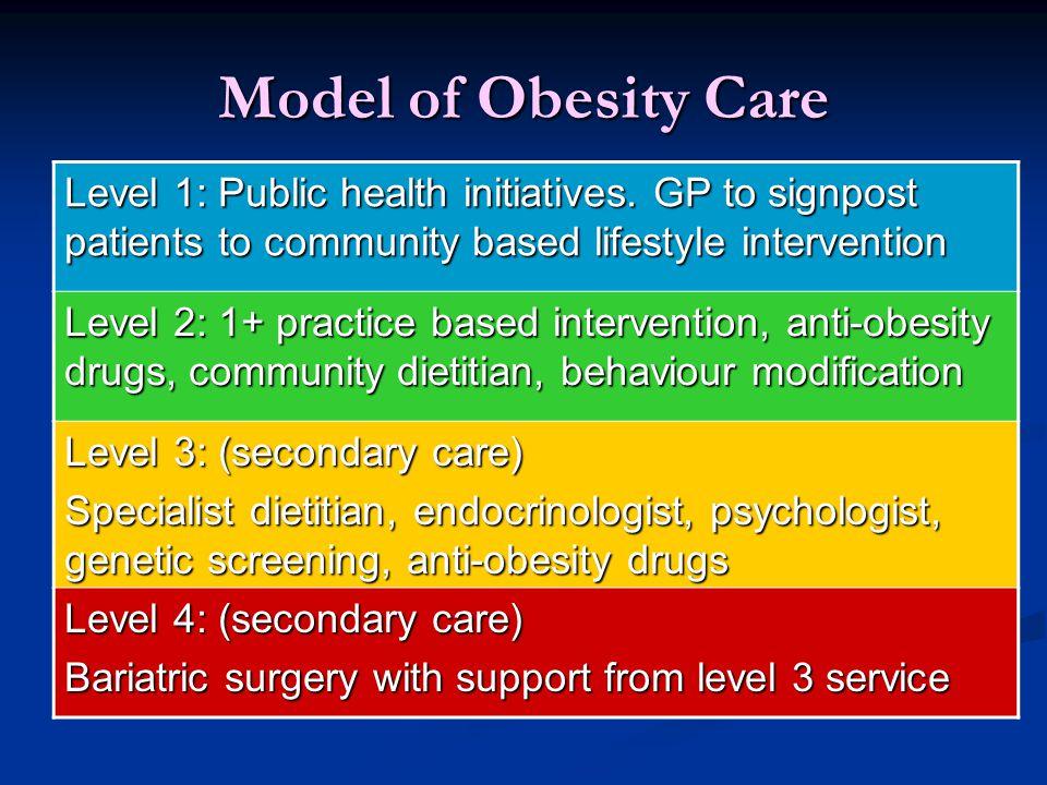Model of Obesity Care Level 1: Public health initiatives.