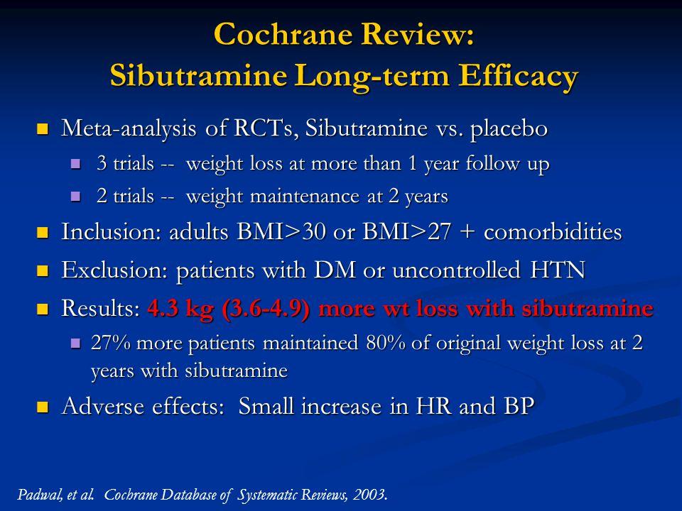 Cochrane Review: Sibutramine Long-term Efficacy Meta-analysis of RCTs, Sibutramine vs.
