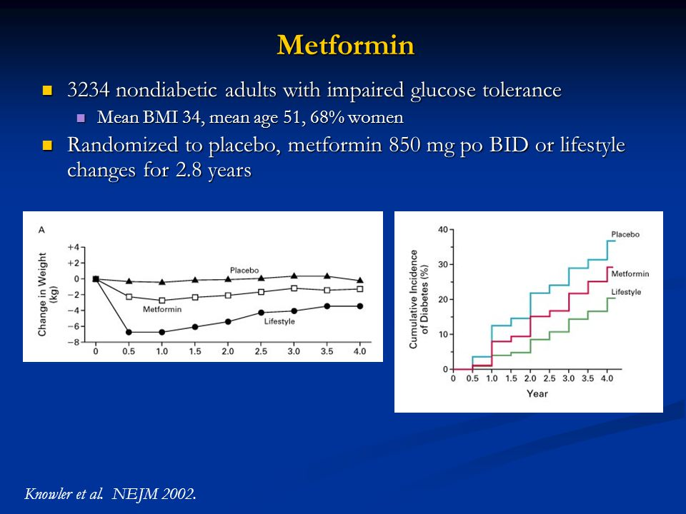 Metformin 3234 nondiabetic adults with impaired glucose tolerance 3234 nondiabetic adults with impaired glucose tolerance Mean BMI 34, mean age 51, 68% women Mean BMI 34, mean age 51, 68% women Randomized to placebo, metformin 850 mg po BID or lifestyle changes for 2.8 years Randomized to placebo, metformin 850 mg po BID or lifestyle changes for 2.8 years Knowler et al.