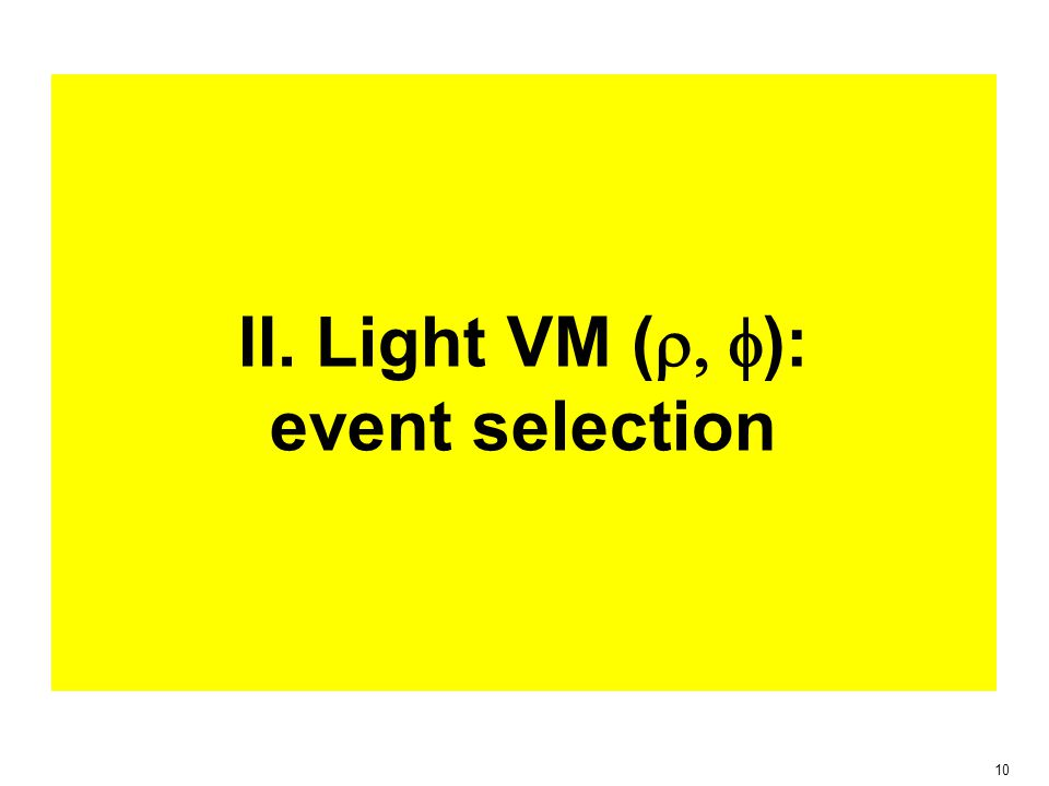 10 II. Light VM (  ): event selection