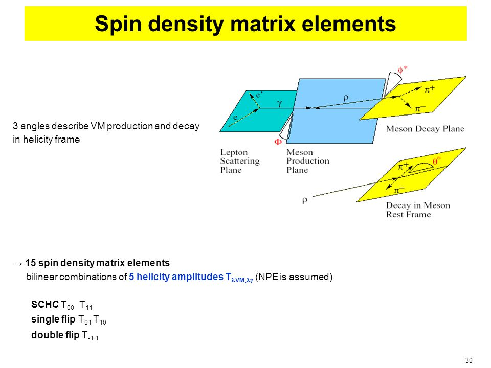 30 Spin density matrix elements 3 angles describe VM production and decay in helicity frame → 15 spin density matrix elements bilinear combinations of 5 helicity amplitudes T VM  (NPE is assumed) SCHC T 00 T 11 single flip T 01 T 10 double flip T -1 1