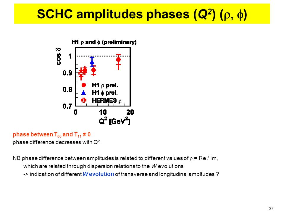 37 SCHC amplitudes phases (Q 2 ) (  ) phase between T 00 and T 11 ≠ 0 phase difference decreases with Q 2 NB phase difference between amplitudes is related to different values of  = Re / Im, which are related through dispersion relations to the W evolutions -> indication of different W evolution of transverse and longitudinal ampltudes