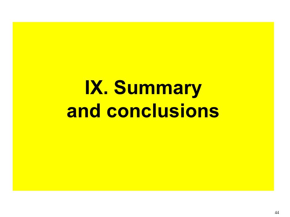 44 IX. Summary and conclusions