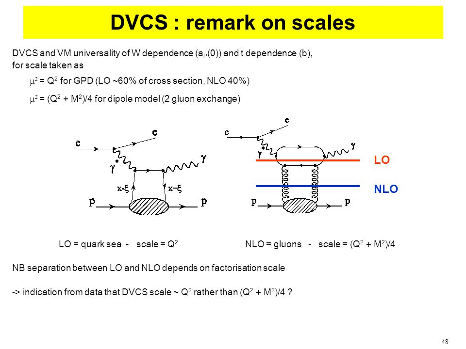 48 DVCS : remark on scales DVCS and VM universality of W dependence (a P (0)) and t dependence (b), for scale taken as   = Q 2 for GPD (LO ~60% of cross section, NLO 40%)   = (Q 2 + M 2 )/4 for dipole model (2 gluon exchange) LO = quark sea - scale = Q 2 NLO = gluons - scale = (Q 2 + M 2 )/4 NB separation between LO and NLO depends on factorisation scale -> indication from data that DVCS scale ~ Q 2 rather than (Q 2 + M 2 )/4 .
