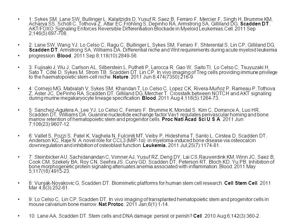 1: Sykes SM, Lane SW, Bullinger L, Kalaitzidis D, Yusuf R, Saez B, Ferraro F, Mercier F, Singh H, Brumme KM, Acharya SS, Schöll C, Tothova Z, Attar EC,Fröhling S, Depinho RA, Armstrong SA, Gilliland DG, Scadden DT.