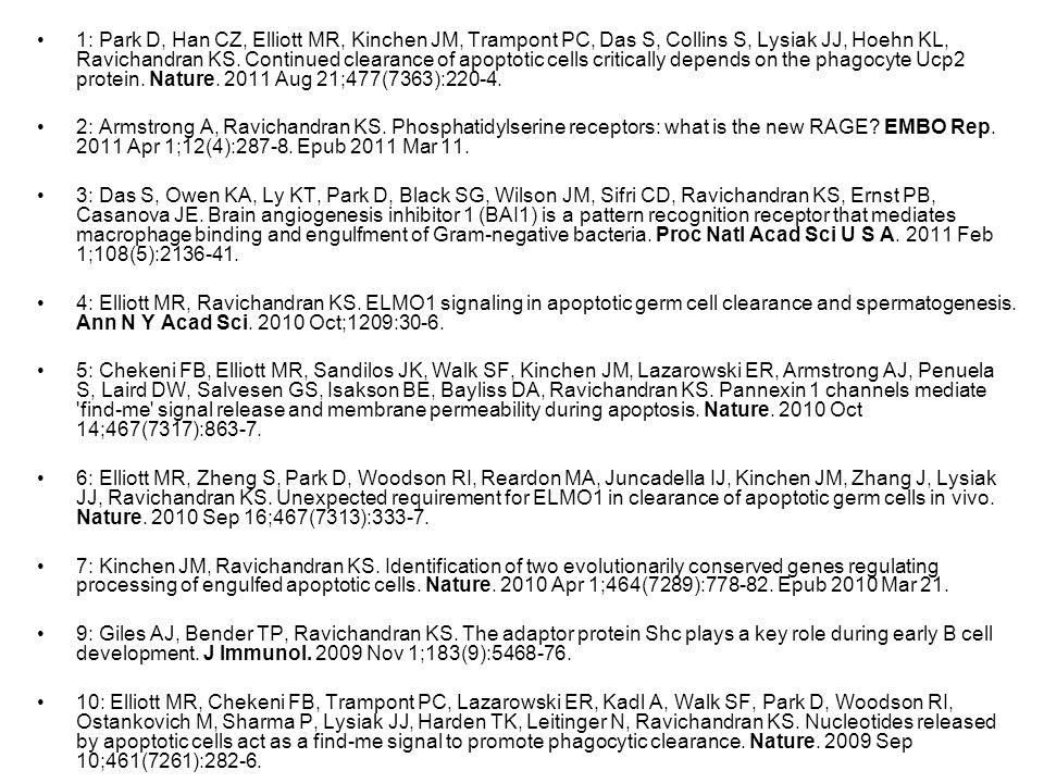 1: Park D, Han CZ, Elliott MR, Kinchen JM, Trampont PC, Das S, Collins S, Lysiak JJ, Hoehn KL, Ravichandran KS.