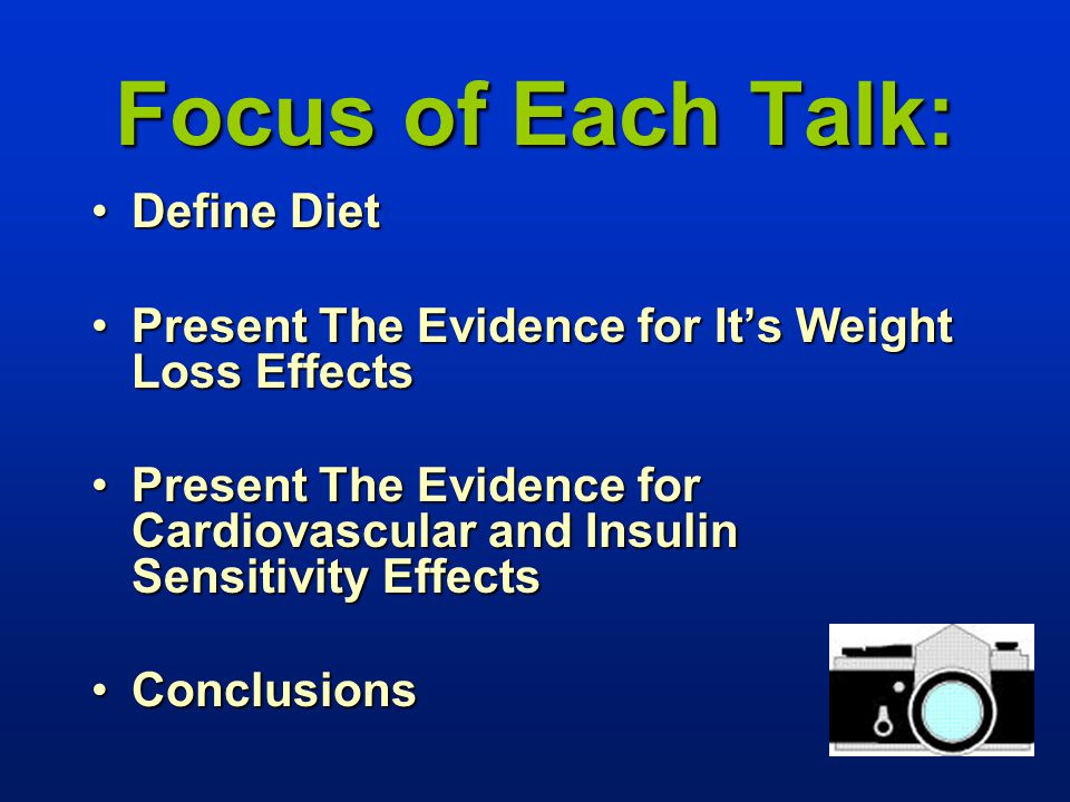 Focus of Each Talk: Define DietDefine Diet Present The Evidence for It's Weight Loss EffectsPresent The Evidence for It's Weight Loss Effects Present