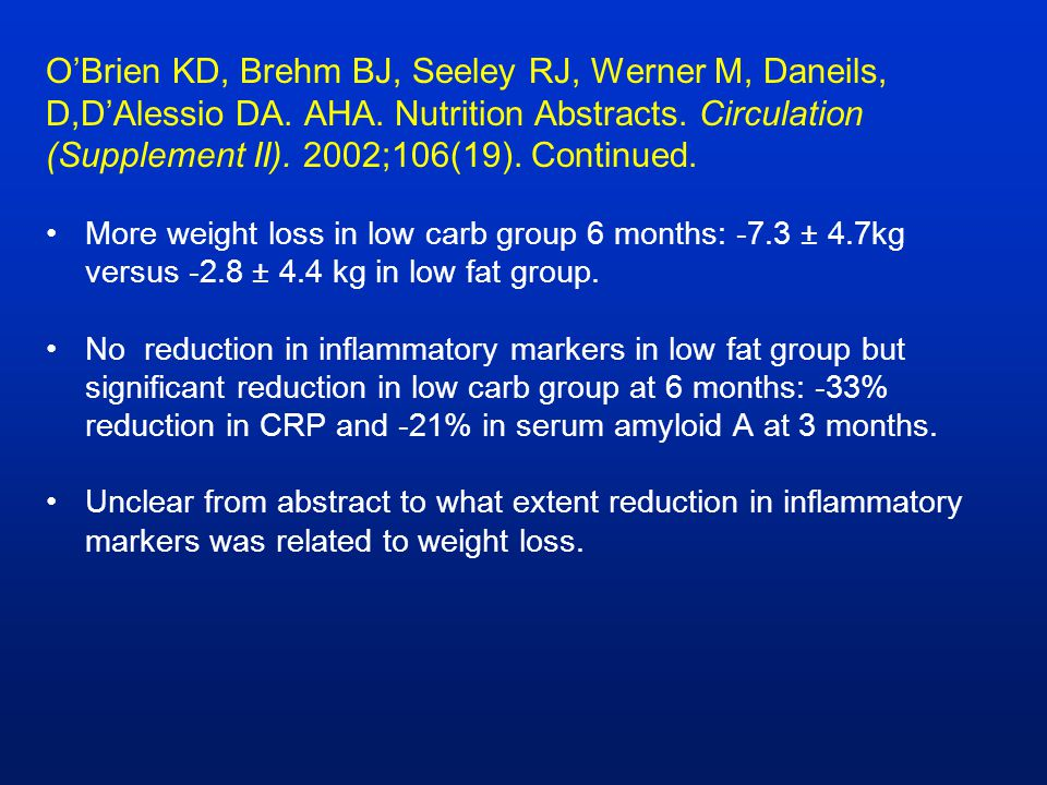 O'Brien KD, Brehm BJ, Seeley RJ, Werner M, Daneils, D,D'Alessio DA. AHA. Nutrition Abstracts. Circulation (Supplement II). 2002;106(19). Continued. Mo