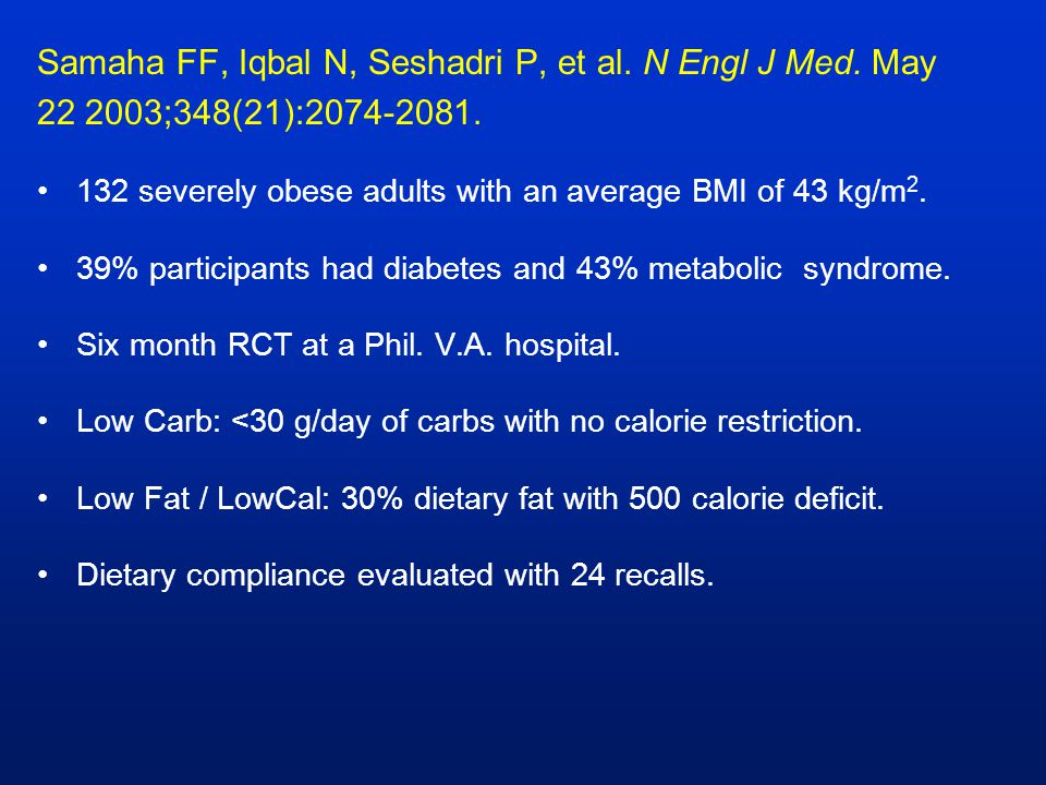 Samaha FF, Iqbal N, Seshadri P, et al. N Engl J Med. May 22 2003;348(21):2074-2081. 132 severely obese adults with an average BMI of 43 kg/m 2. 39% pa