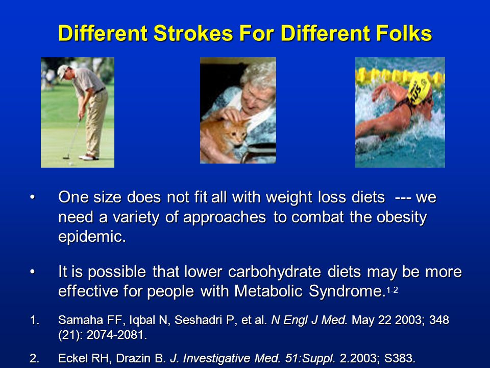 Different Strokes For Different Folks One size does not fit all with weight loss diets --- we need a variety of approaches to combat the obesity epide