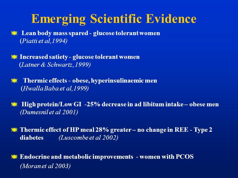 Emerging Scientific Evidence  Lean body mass spared - glucose tolerant women (Piatti et al,1994)  Increased satiety - glucose tolerant women (Latner
