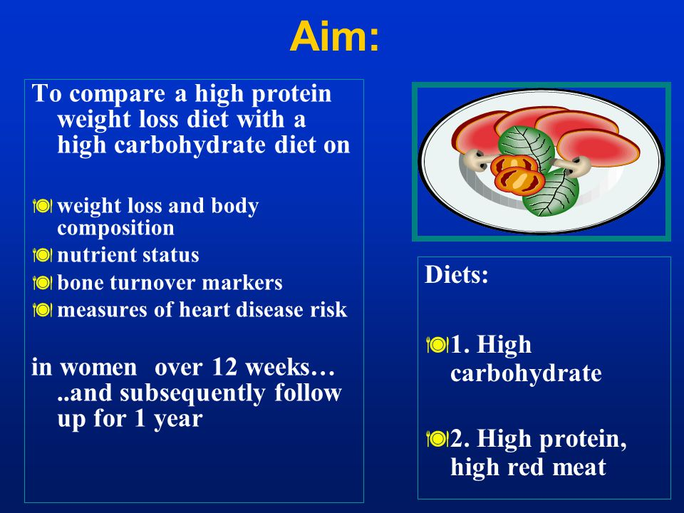 To compare a high protein weight loss diet with a high carbohydrate diet on  weight loss and body composition  nutrient status  bone turnover marke