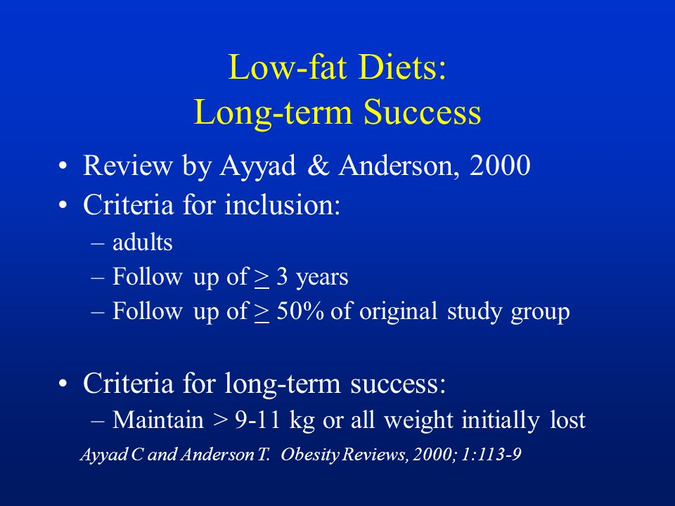 Low-fat Diets: Long-term Success Review by Ayyad & Anderson, 2000 Criteria for inclusion: –adults –Follow up of > 3 years –Follow up of > 50% of origi