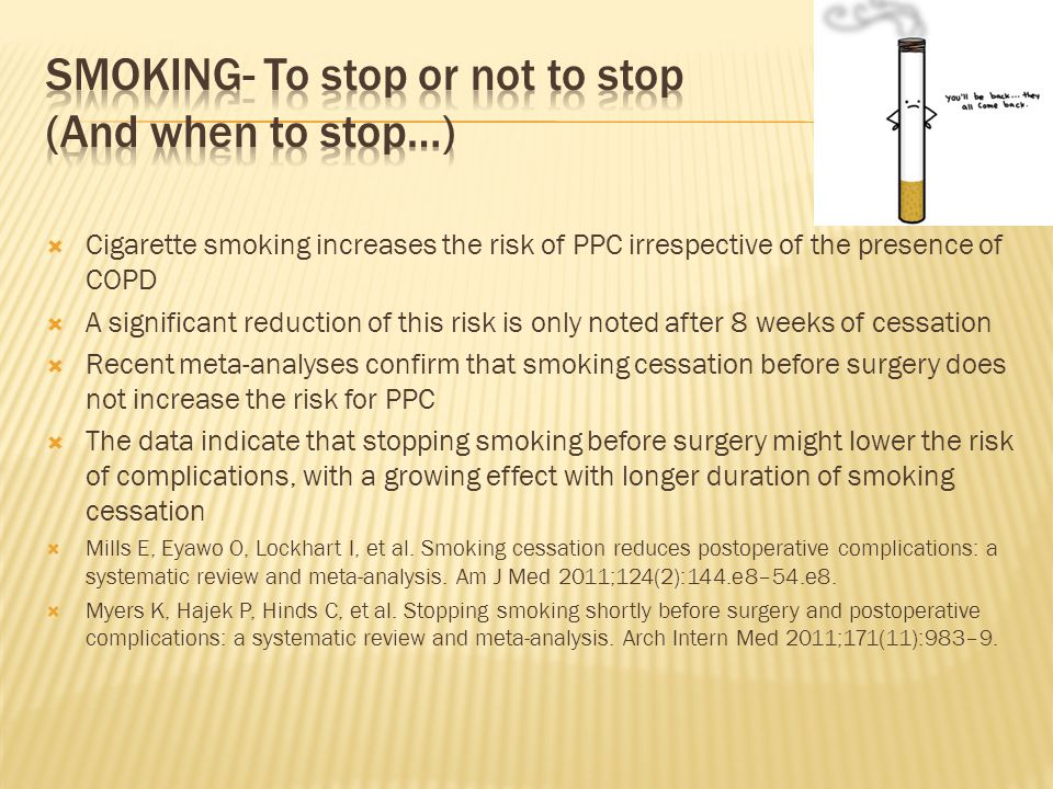  Cigarette smoking increases the risk of PPC irrespective of the presence of COPD  A significant reduction of this risk is only noted after 8 weeks