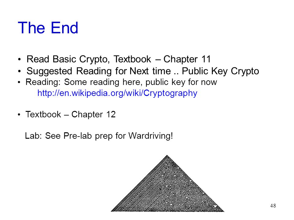48 The End Read Basic Crypto, Textbook – Chapter 11 Suggested Reading for Next time..