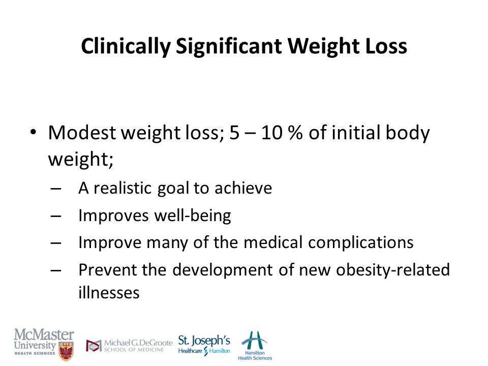 Clinically Significant Weight Loss Modest weight loss; 5 – 10 % of initial body weight; – A realistic goal to achieve – Improves well-being – Improve many of the medical complications – Prevent the development of new obesity-related illnesses