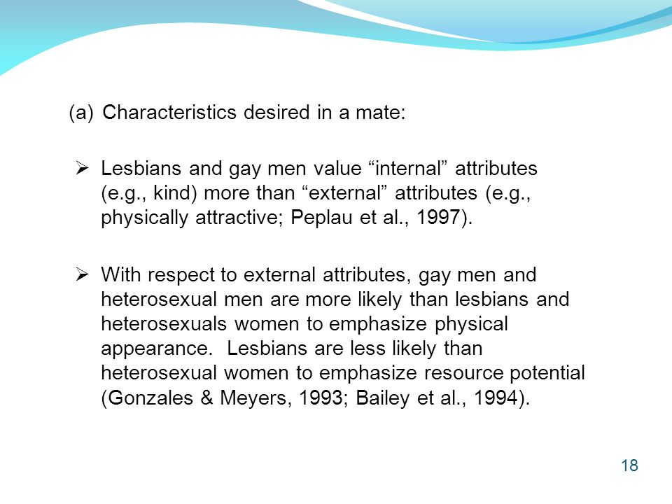 18 (a)Characteristics desired in a mate:  Lesbians and gay men value internal attributes (e.g., kind) more than external attributes (e.g., physically attractive; Peplau et al., 1997).