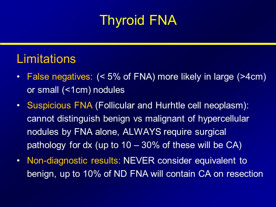 Thyroid FNA Limitations False negatives: ( 4cm) or small (<1cm) nodules Suspicious FNA (Follicular and Hurhtle cell neoplasm): cannot distinguish beni