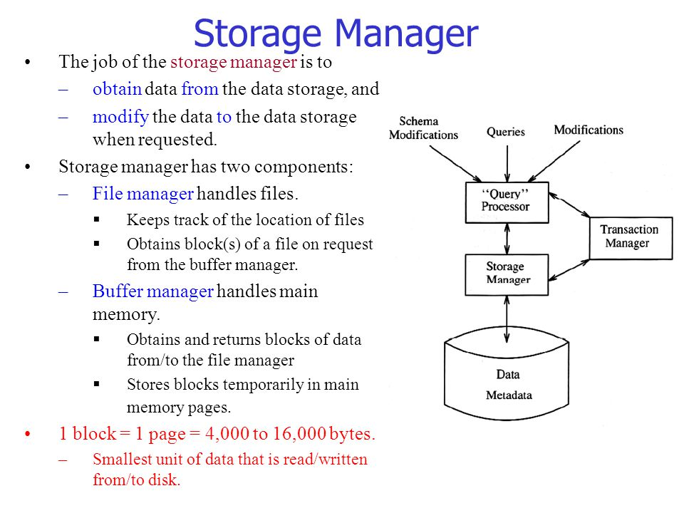 The job of the storage manager is to –obtain data from the data storage, and –modify the data to the data storage when requested.