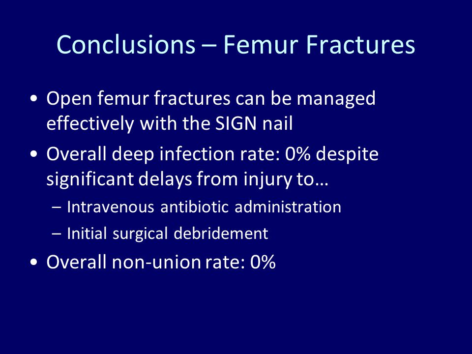 Conclusions – Femur Fractures Open femur fractures can be managed effectively with the SIGN nail Overall deep infection rate: 0% despite significant d