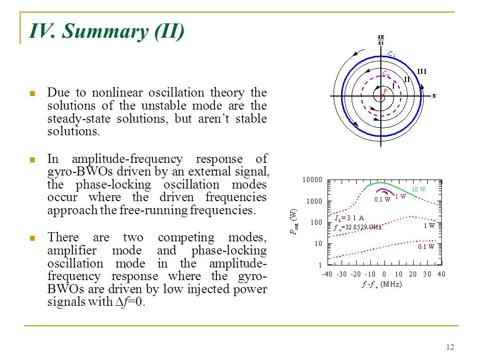 12 IV. Summary (II) Due to nonlinear oscillation theory the solutions of the unstable mode are the steady-state solutions, but aren't stable solutions