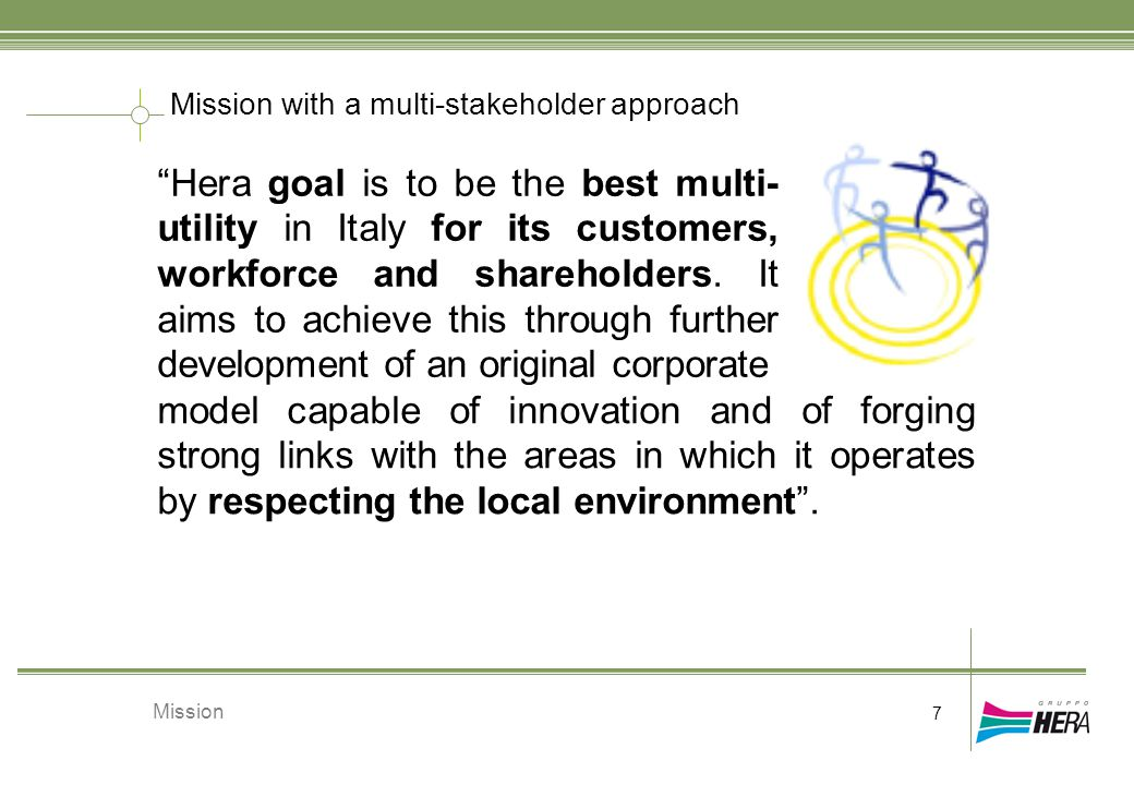 "Mission with a multi-stakeholder approach 7 Mission ""Hera goal is to be the best multi- utility in Italy for its customers, workforce and shareholders"