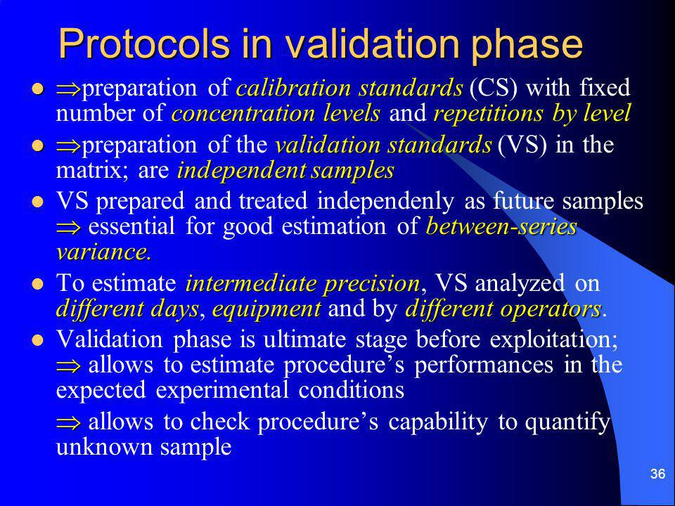 36 Protocols in validation phase  calibration standards concentration levelsrepetitions by level  preparation of calibration standards (CS) with fixed number of concentration levels and repetitions by level  validation standards independent samples  preparation of the validation standards (VS) in the matrix; are independent samples  between-series variance.