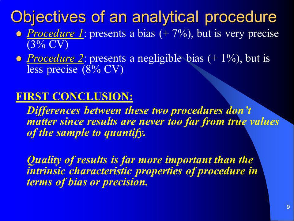 9 Objectives of an analytical procedure Procedure 1 Procedure 1: presents a bias (+ 7%), but is very precise (3% CV) Procedure 2 Procedure 2: presents a negligible bias (+ 1%), but is less precise (8% CV) FIRST CONCLUSION: Differences between these two procedures don't matter since results are never too far from true values of the sample to quantify.