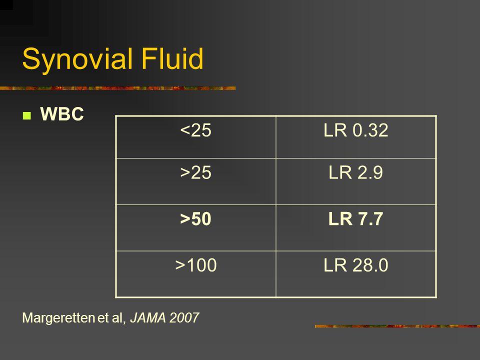 Synovial Fluid WBC Margeretten et al, JAMA 2007 <25LR 0.32 >25LR 2.9 >50LR 7.7 >100LR 28.0