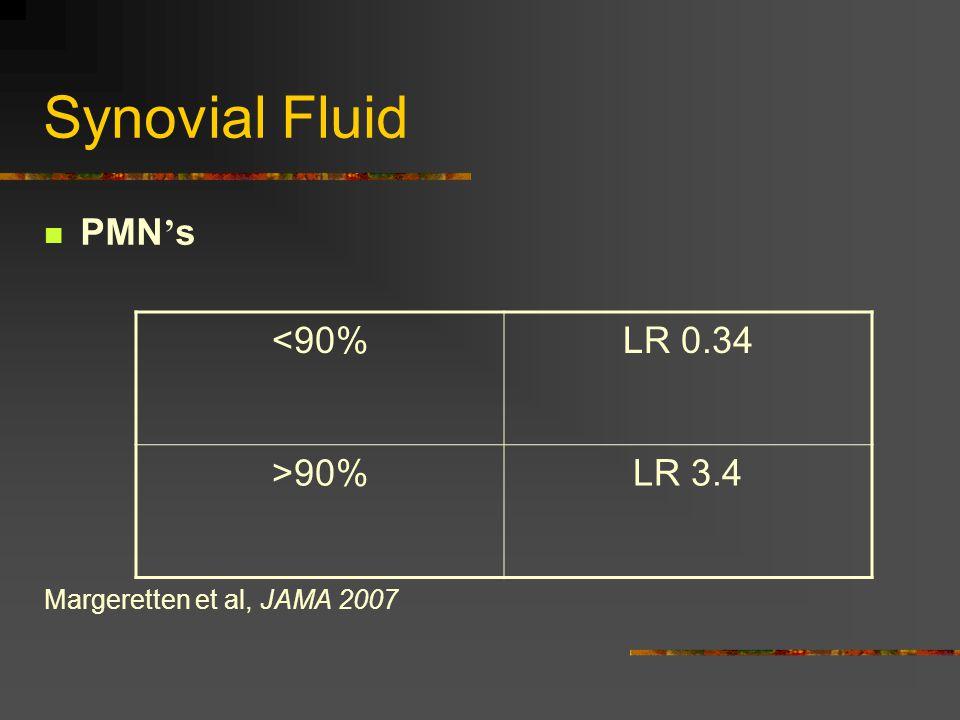 Synovial Fluid PMN ' s Margeretten et al, JAMA 2007 <90%LR 0.34 >90%LR 3.4