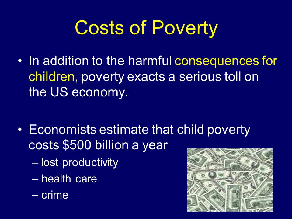 Costs of Poverty In addition to the harmful consequences for children, poverty exacts a serious toll on the US economy.