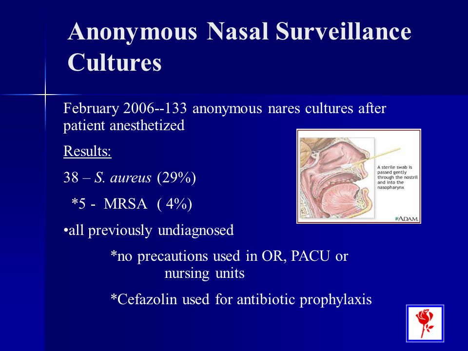 February 2006--133 anonymous nares cultures after patient anesthetized Results: 38 – S. aureus (29%) *5 - MRSA ( 4%) all previously undiagnosed *no pr