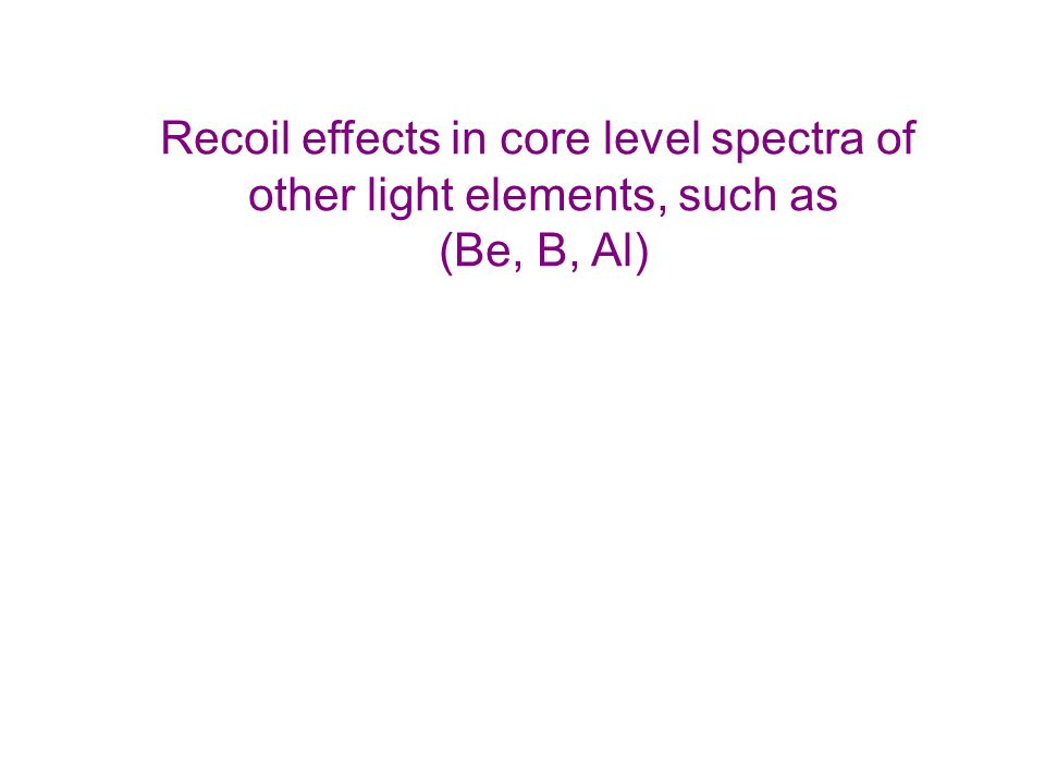 Recoil effects in core level spectra of other light elements, such as (Be, B, Al)