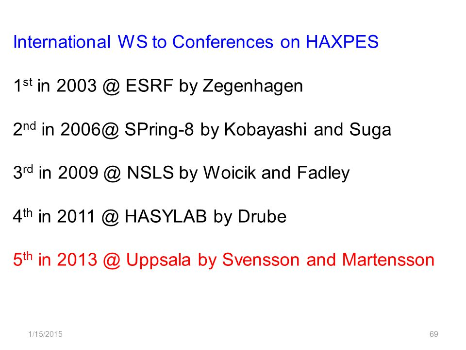 1/15/201569 International WS to Conferences on HAXPES 1 st in 2003 @ ESRF by Zegenhagen 2 nd in 2006@ SPring-8 by Kobayashi and Suga 3 rd in 2009 @ NSLS by Woicik and Fadley 4 th in 2011 @ HASYLAB by Drube 5 th in 2013 @ Uppsala by Svensson and Martensson