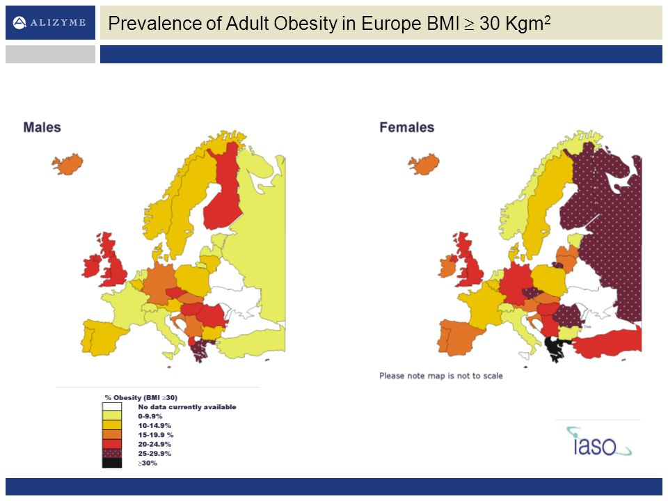 Prevalence of Adult Obesity in Europe BMI  30 Kgm 2