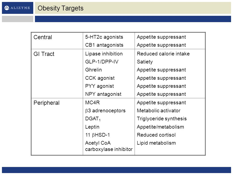 Obesity Targets Central 5-HT2c agonists CB1 antagonists Appetite suppressant GI Tract Lipase inhibition GLP-1/DPP-IV Ghrelin CCK agonist PYY agonist NPY antagonist Reduced calorie intake Satiety Appetite suppressant Peripheral MC4R  3 adrenoceptors DGAT 1 Leptin 11  HSD-1 Acetyl CoA carboxylase inhibitor Appetite suppressant Metabolic activator Triglyceride synthesis Appetite/metabolism Reduced cortisol Lipid metabolism